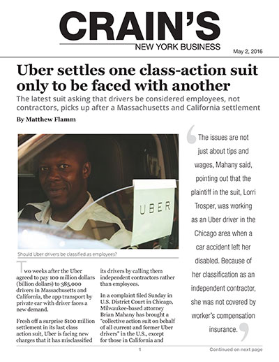 Uber settles one class-action suit only to be faced with another