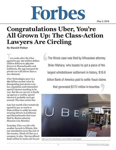 Congratulations Uber, You're All Grown Up: The Class-Action Lawyers Are Circling