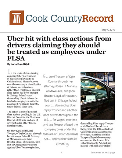 Uber hit with class actions from drivers claiming they should be treated as employees under FLSA