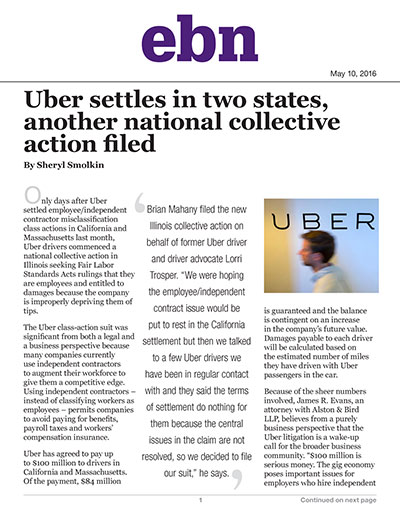 Uber settles in two states, another national collective action filed
