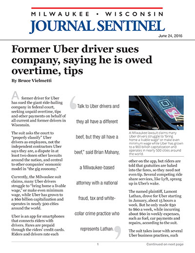 Former Uber driver sues company, saying he is owed overtime, tips