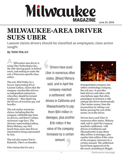 Milwaukee-area Driver Sues Uber