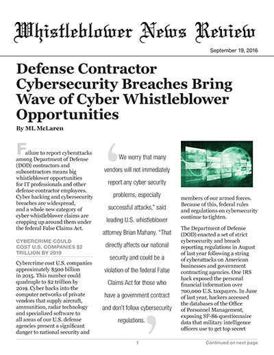 Defense Contractor Cybersecurity Breaches Bring Wave of Cyber Whistleblower Opportunities