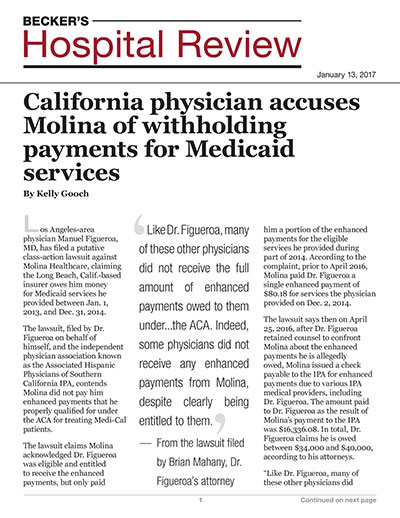 California physician accuses Molina of withholding payments for Medicaid services