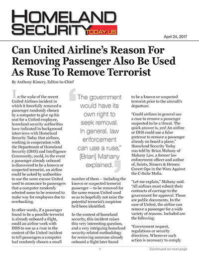 Can United Airline's Reason for Removing Passenger Also be Used as Ruse to Remove Terrorist