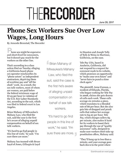 Phone Sex Workers Sue Over Low Wages, Long Hours