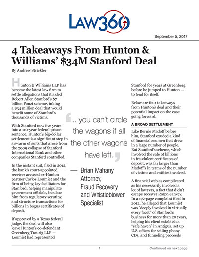 4 Takeaways From Hunton & Williams' $34M Stanford Deal
