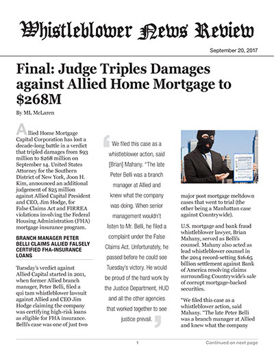 Final: Judge Triples Damages against Allied Home Mortgage to $268M