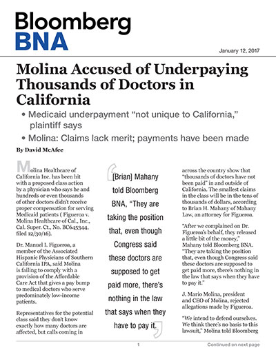 Molina Accused of Underpaying Thousands of Doctors in California
