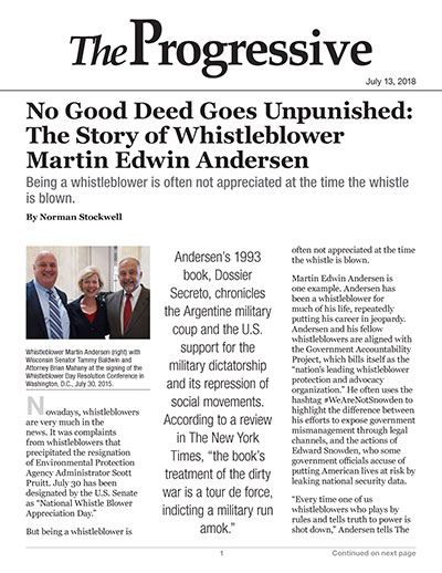 No Good Deed Goes Unpunished: The Story of Whistleblower Martin Edwin Andersen
