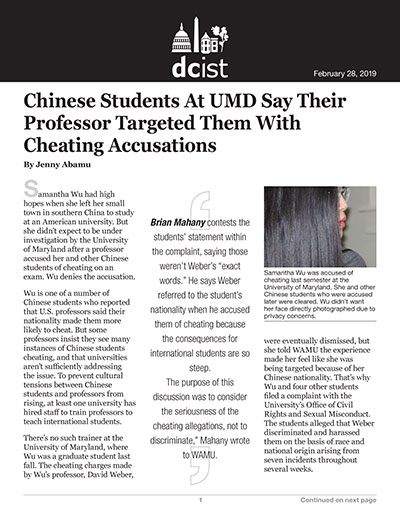 Chinese Students At UMD Say Their Professor Targeted Them With Cheating Accusations