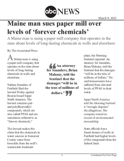 Maine man sues paper mill over levels of 'forever chemicals'