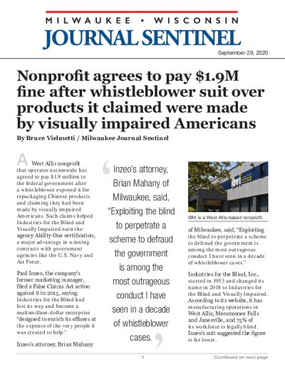 Nonprofit agrees to pay $1.9M fine after whistleblower suit over products it claimed were made by visually impaired Americans