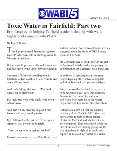 Toxic Water in Fairfield