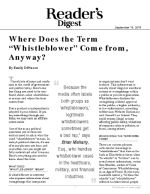 "Where Does the Term ""Whistleblower"" Come from, Anyway?"