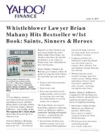 Whistleblower Lawyer Brian Mahany Hits Bestseller w/1st Book: Saints, Sinners & Heroes
