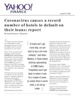 Coronavirus causes a record number of hotels to default on their loans: report